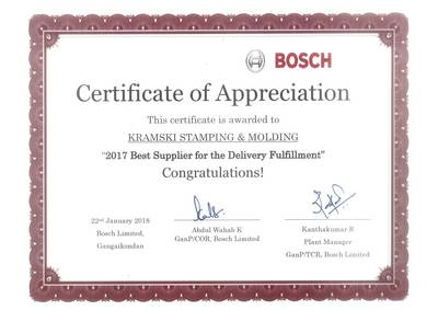 Another award for KRAMSKI India in January: the Bosch group honored exceptional reliability with regard to delivery